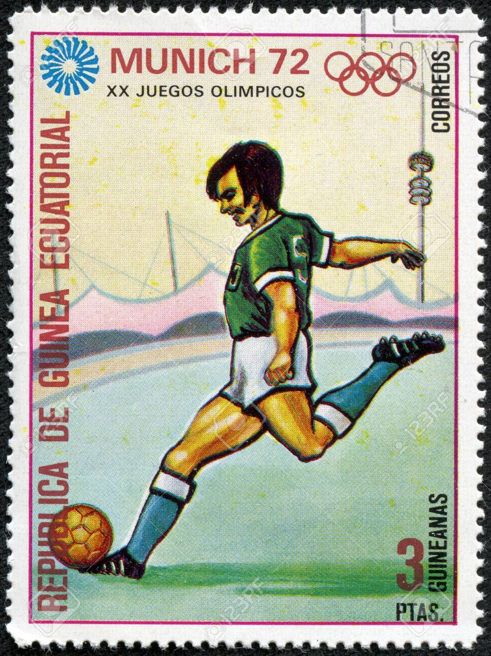 GUINEA - CIRCA 1972  stamp printed by Equatorial Guinea, shows Soccer players and ball, circa 1972  Stock Photo - 17614984