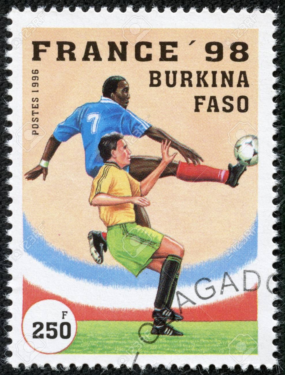 BURKINA FASO - CIRCA 1996  A stamp printed by Burkina Faso, shows 1998 World Cup Soccer Championships, France, circa 1996  Stock Photo - 17554725