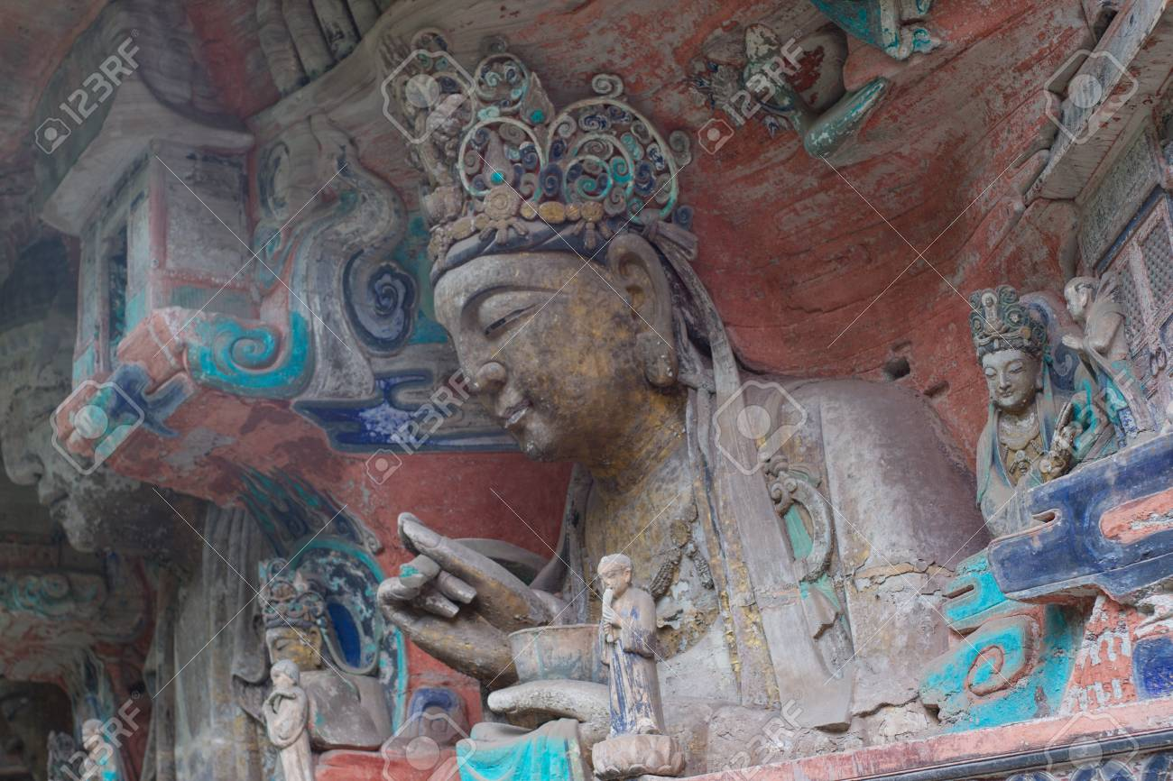 DAZU TOWN CHONGQING CHINA - NOV 23  Ancient Buddhist Hillside Rock Carvings, Ten Austerities of Liu Benzun - November 23,2012 at Baodingshan temple in Dazu town, Chongqing, China Stock Photo - 18614347