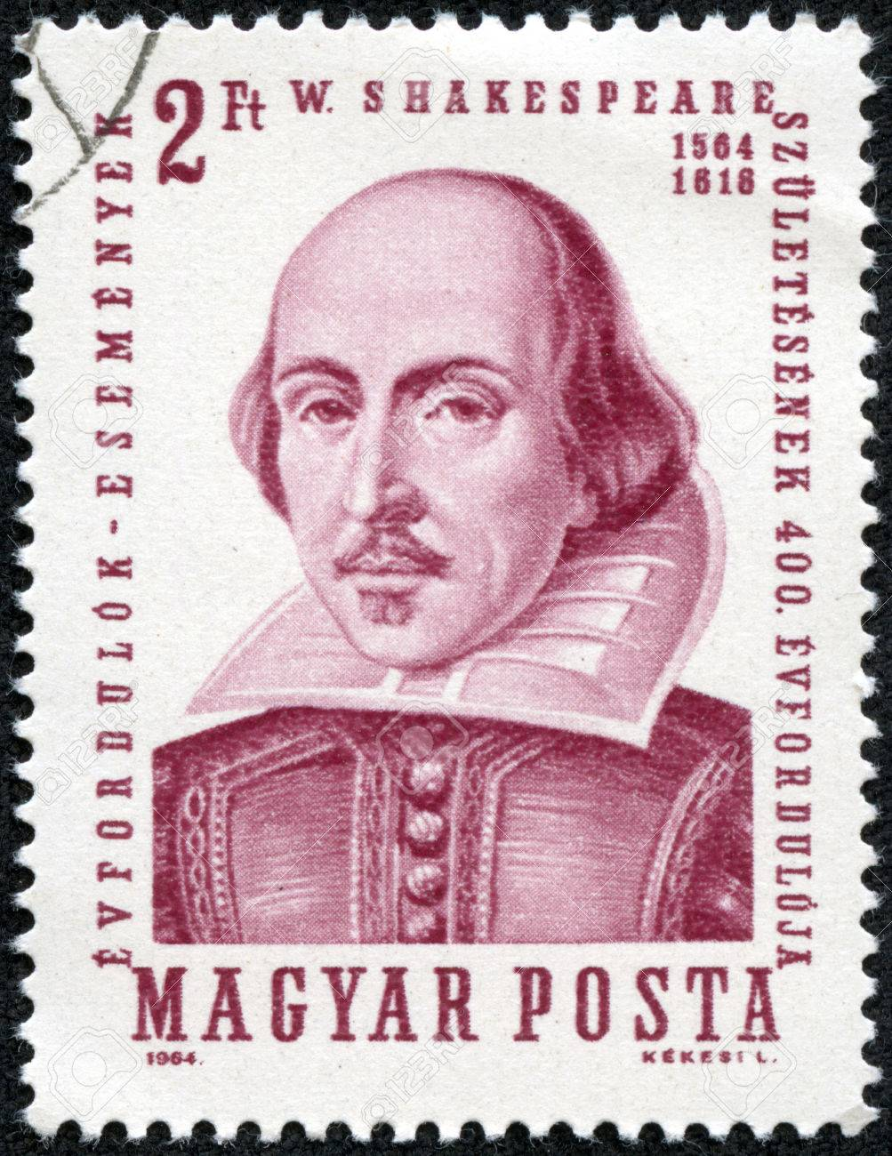HUNGARY - CIRCA 1964  A stamp printed in Hungary shows image of William Shakespeare  1564-1616 , the playwright, circa 1964 Stock Photo - 27652650