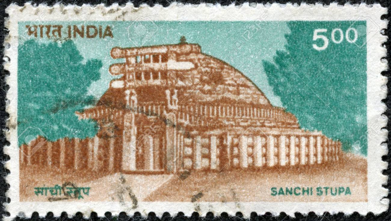 INDIA - CIRCA 1994 a stamp printed in India shows Sanchi Stupa,