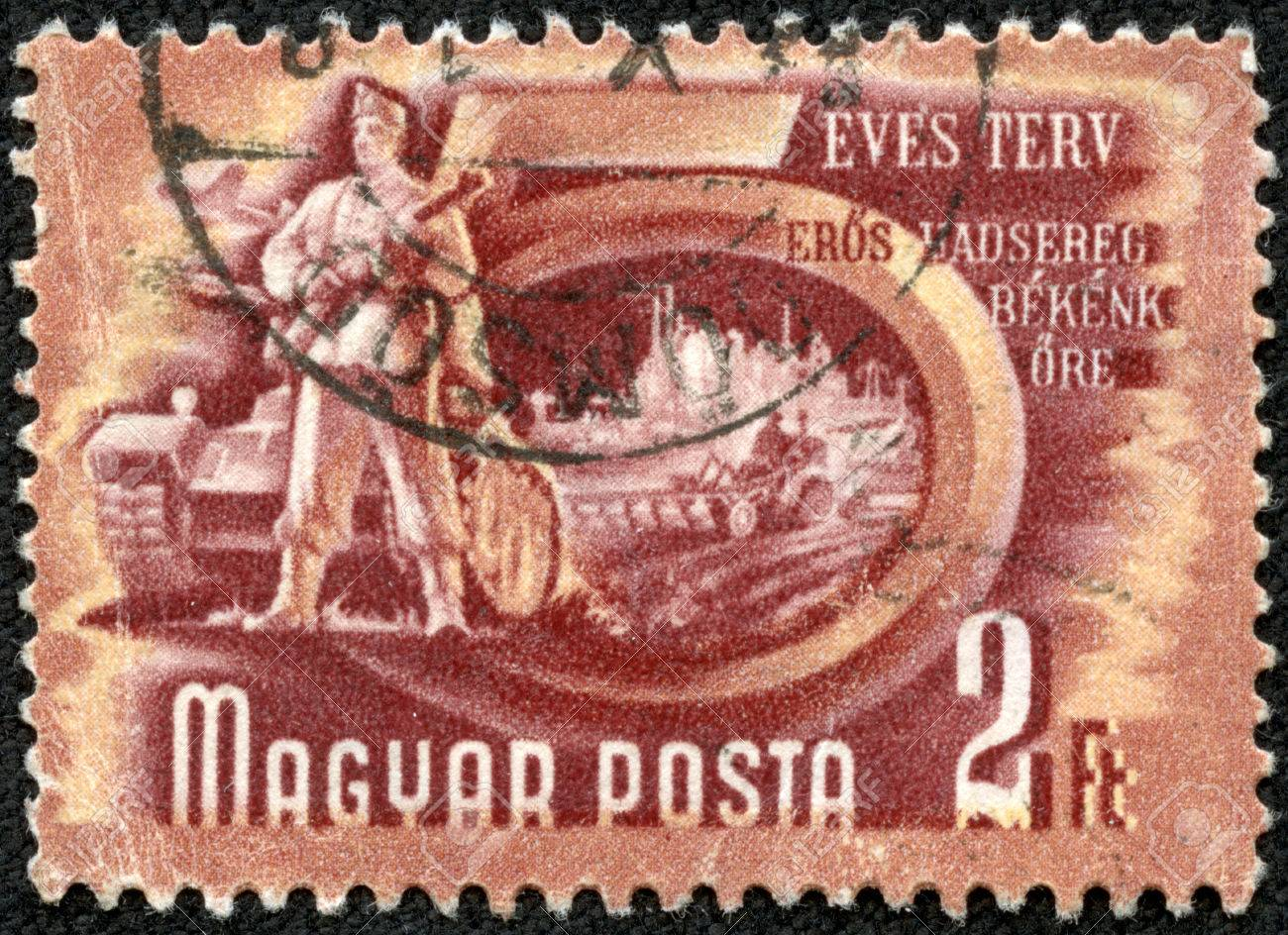 Hungary Circa 1950s A Stamp Printed In Hungary Shows Soldier