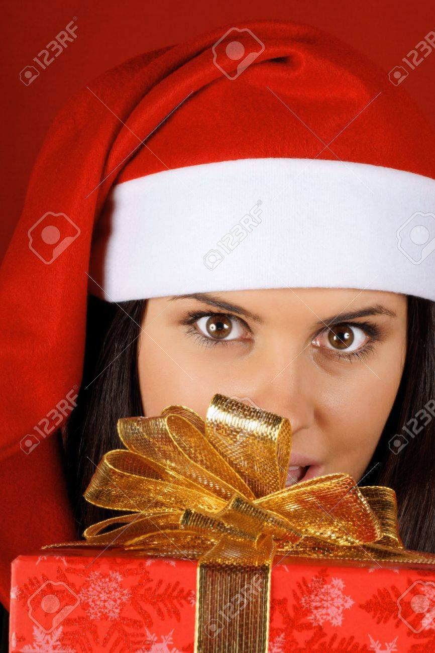Beautiful 18 Years Old Santa Claus Girl Offering A Christmas.. Stock ...