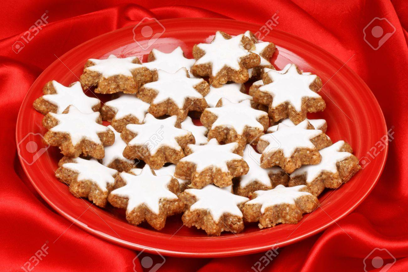 Close Up Of Some Cinnamon Star Cookies In German Zimtsterne