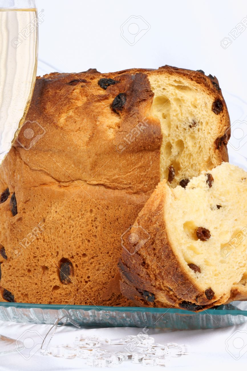 Panettone The Italian Christmas Fruit Cake Served On A Transpa Glass Plate Of Spumante
