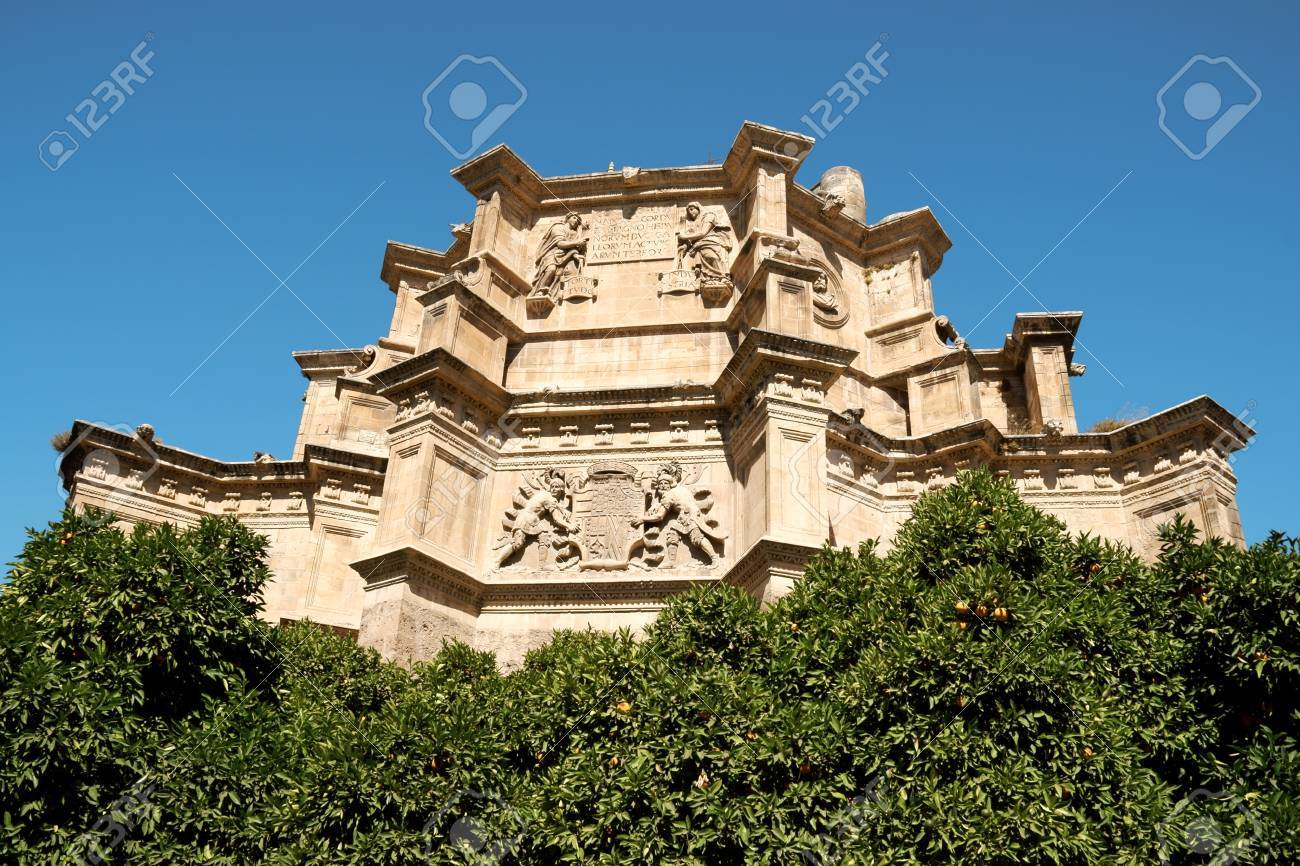 Detail of Monastery and Church of Saint Jerome among orange trees in Granada, Spain. Stock Photo - 12972893
