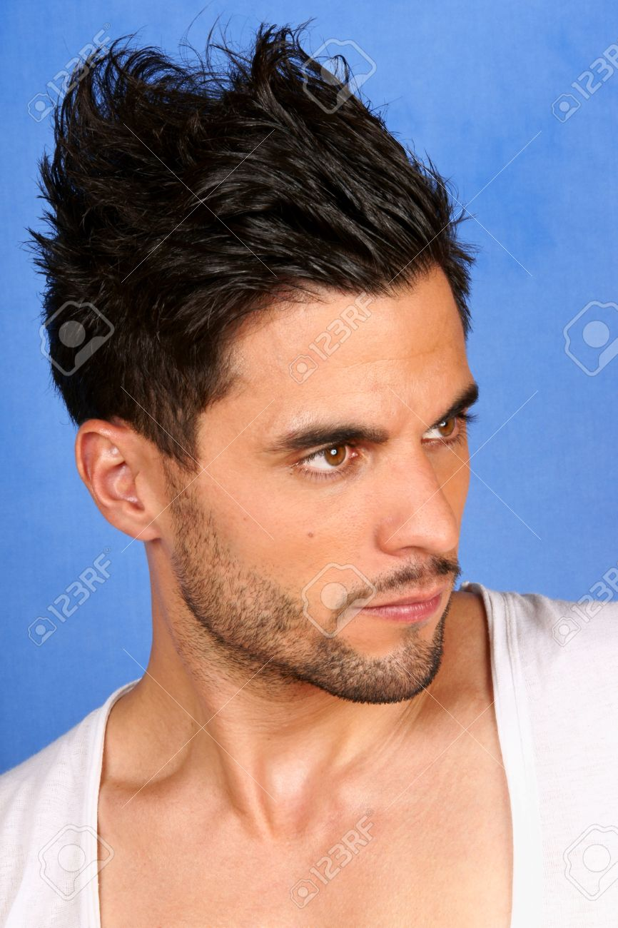 Trendy 30 Years Old Man With Black Hair And Brown Eyes Portrait