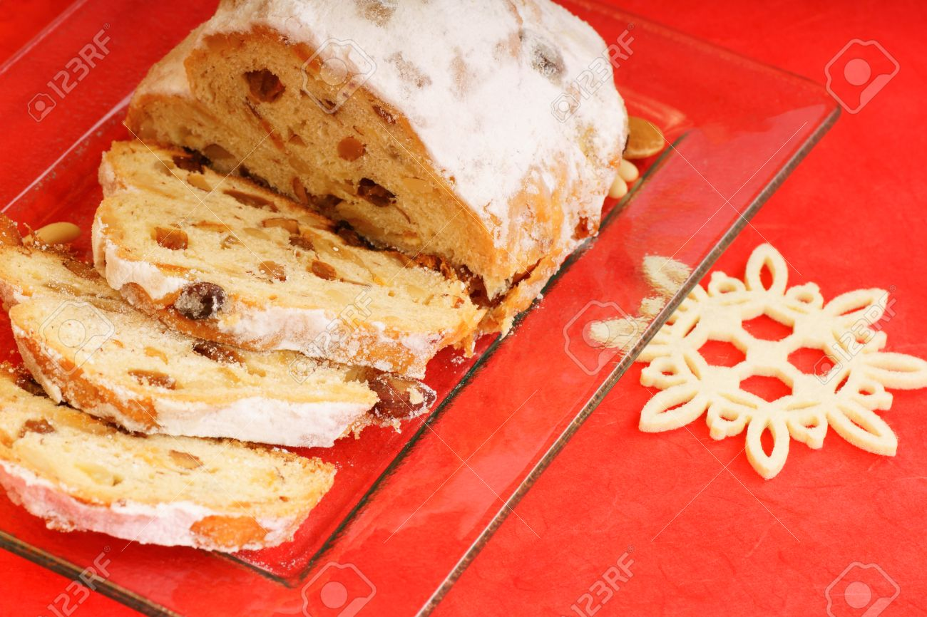 Sliced Christmas Stollen The Traditional German Fruit Cake Made Of Bread Like Pastry With Cand