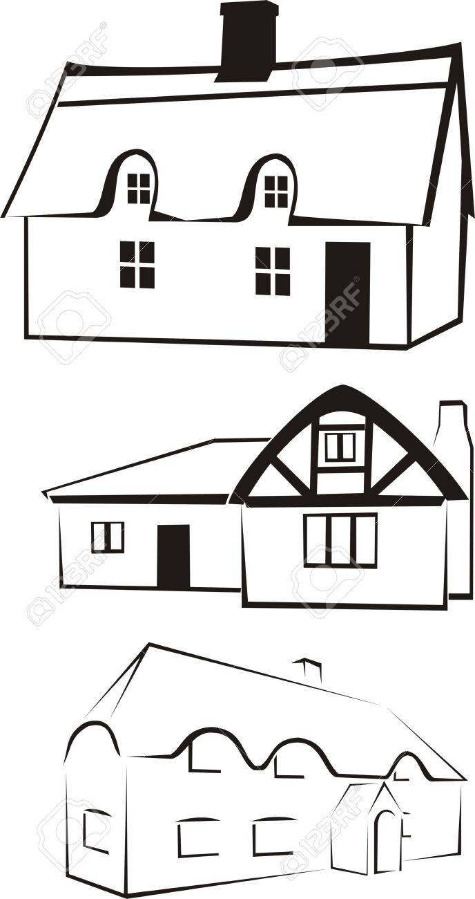 architecture - house silhouette & logo Stock Vector - 8852662