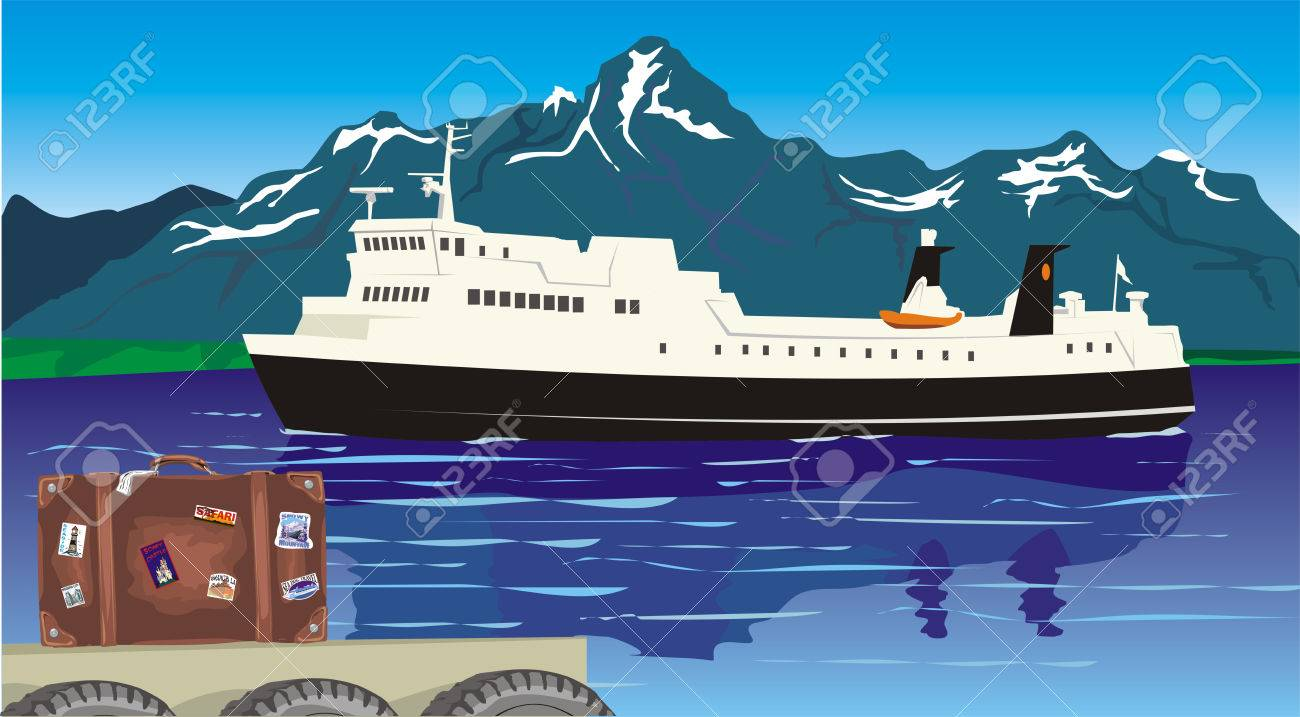 to cross the magic fjord by ferry Stock Vector - 8852682