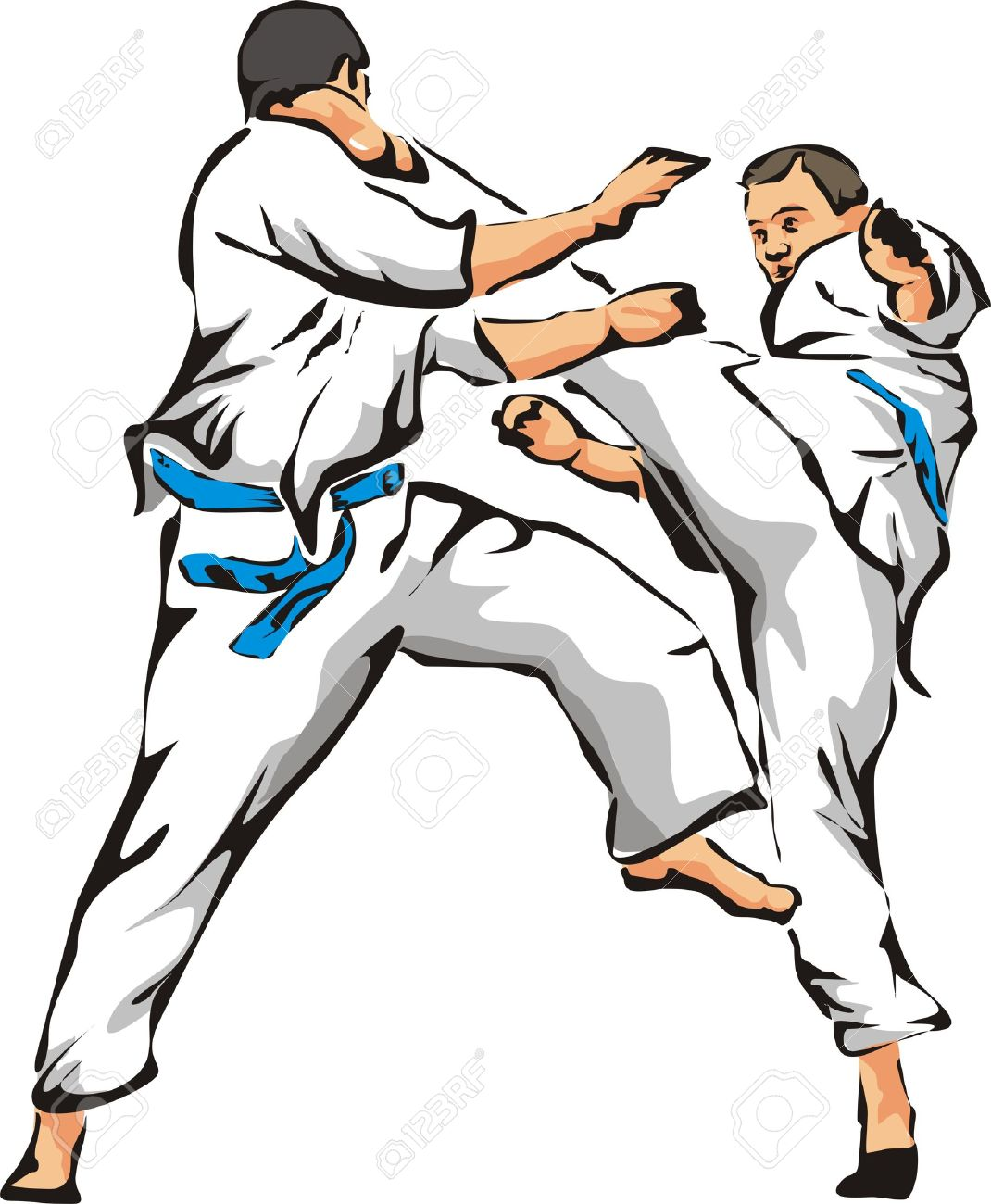 karate fight unarmed combat royalty free cliparts vectors and