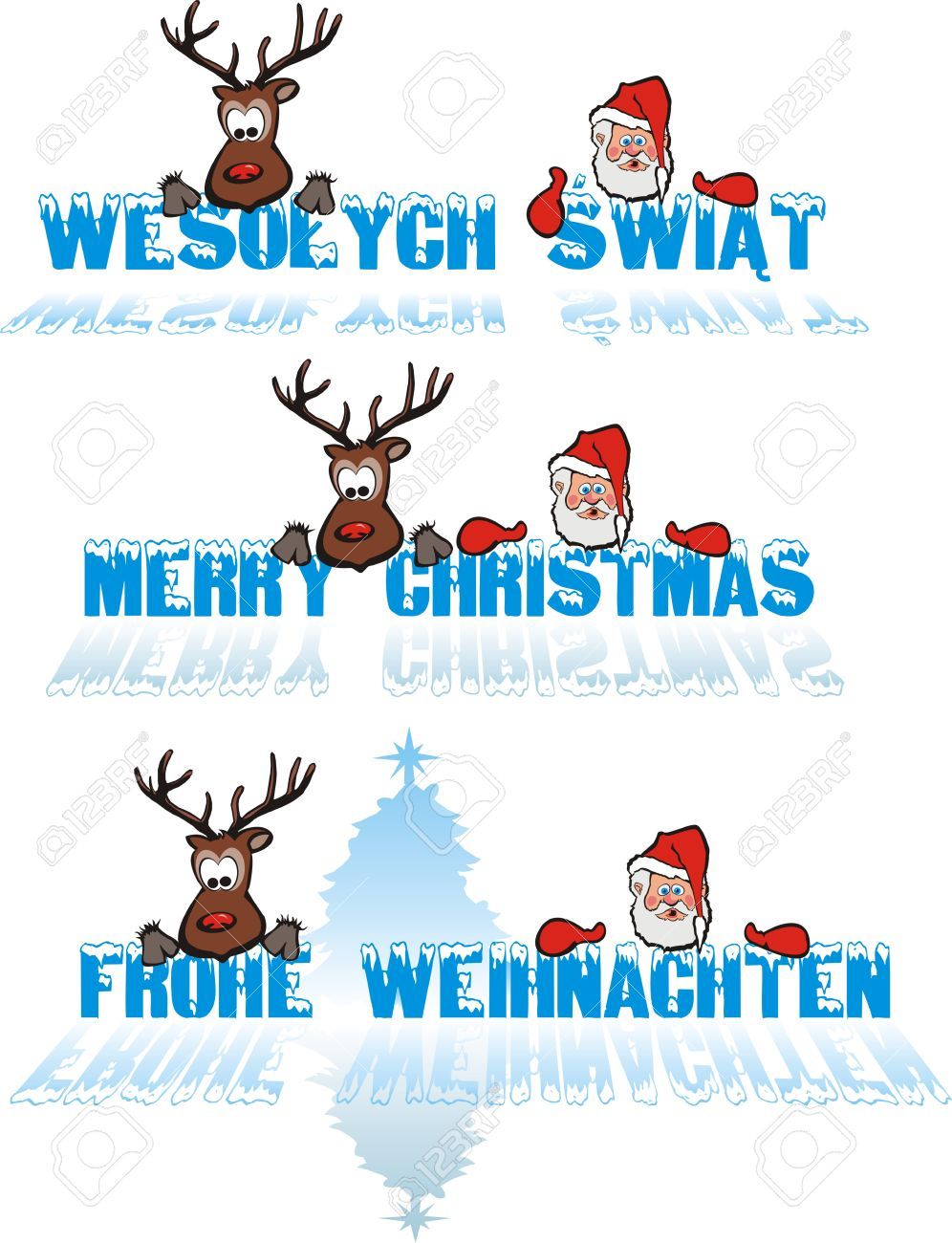 Merry Christmas - In Polish, In English, In German Royalty Free ...