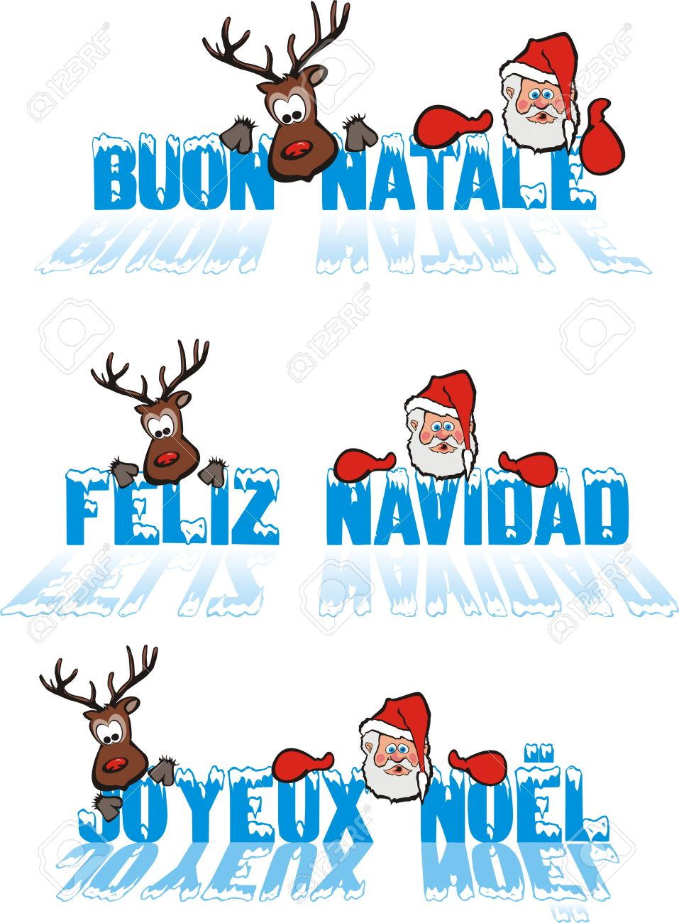 Merry Christmas - In French, In Spanish, In Italian Royalty Free ...