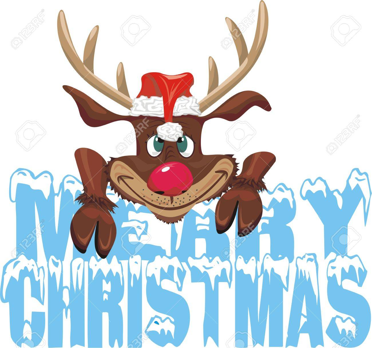 Red Nosed Reideer - Merry Christmas Royalty Free Cliparts, Vectors ...