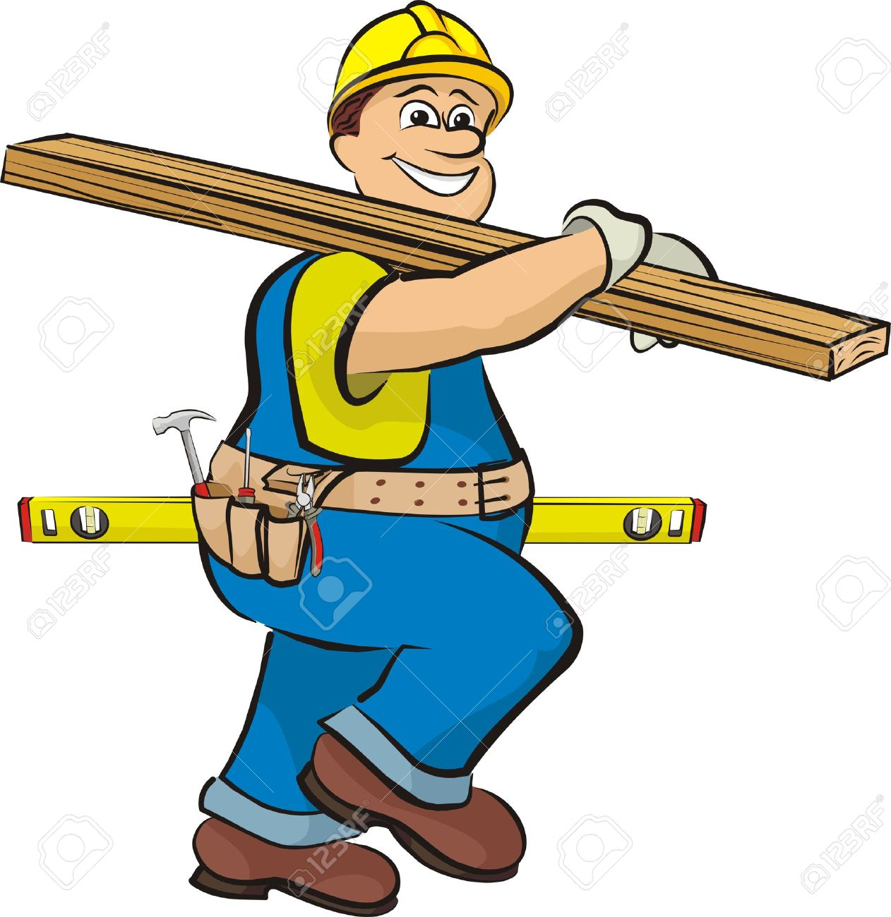 carpenter on the construction Stock Vector - 12788518