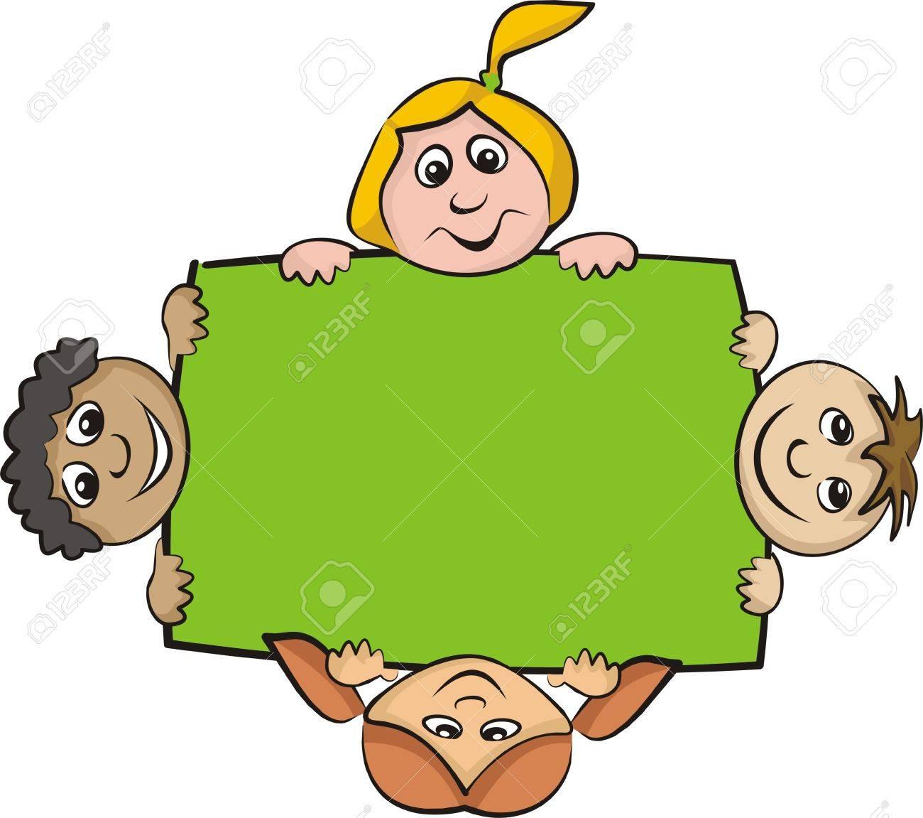 children around the billboard Stock Vector - 13016815