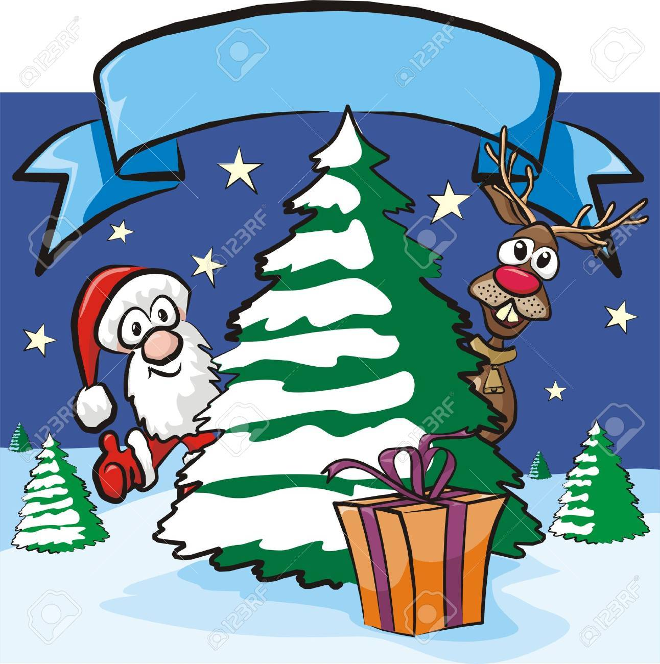 christmas eve - santa and reindeer Stock Vector - 15964081