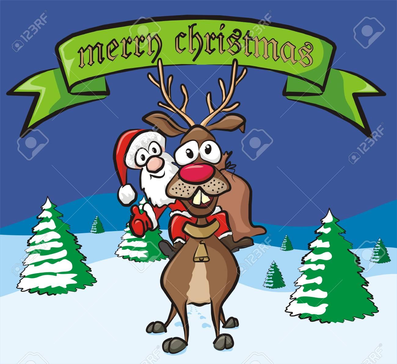 merry christmas - santa and reindeer Stock Vector - 15964080