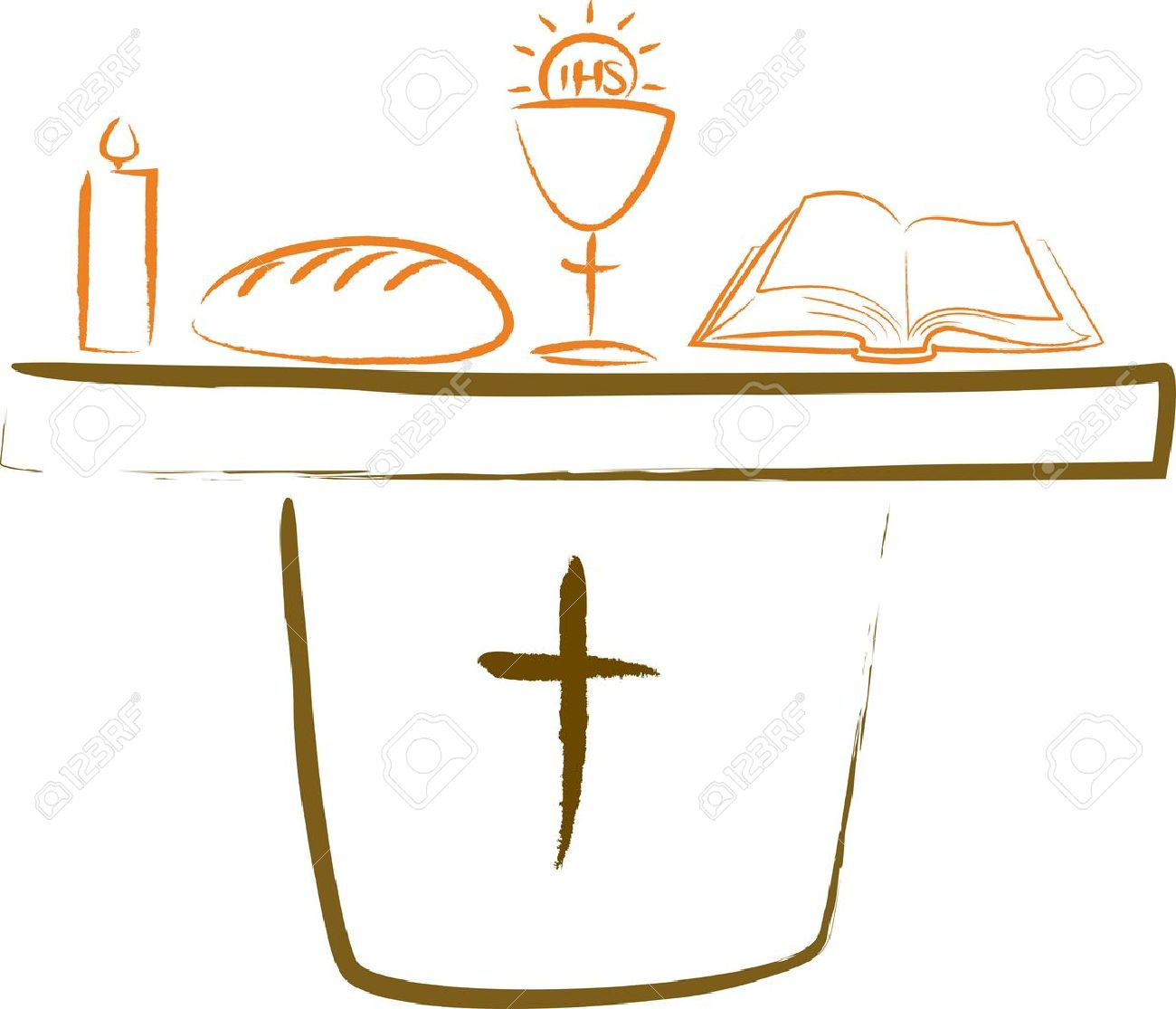 Holy Communion Altar And Religious Symbols Royalty Free Cliparts