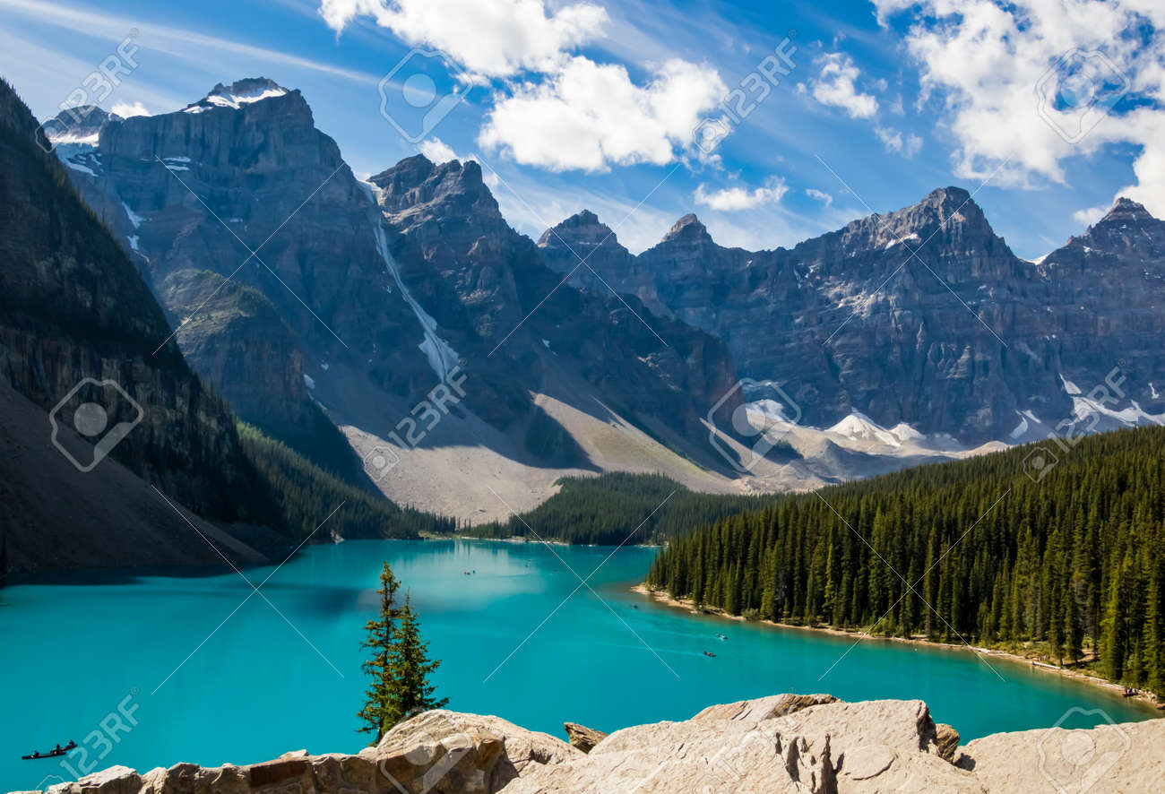 Scenic landscape view of the iconic Moraine Lake in Banff National Park in Canada - 157589034