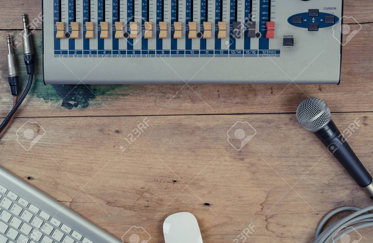 Flat lay of sound equipments, Mixer, Microphone, jack with cable