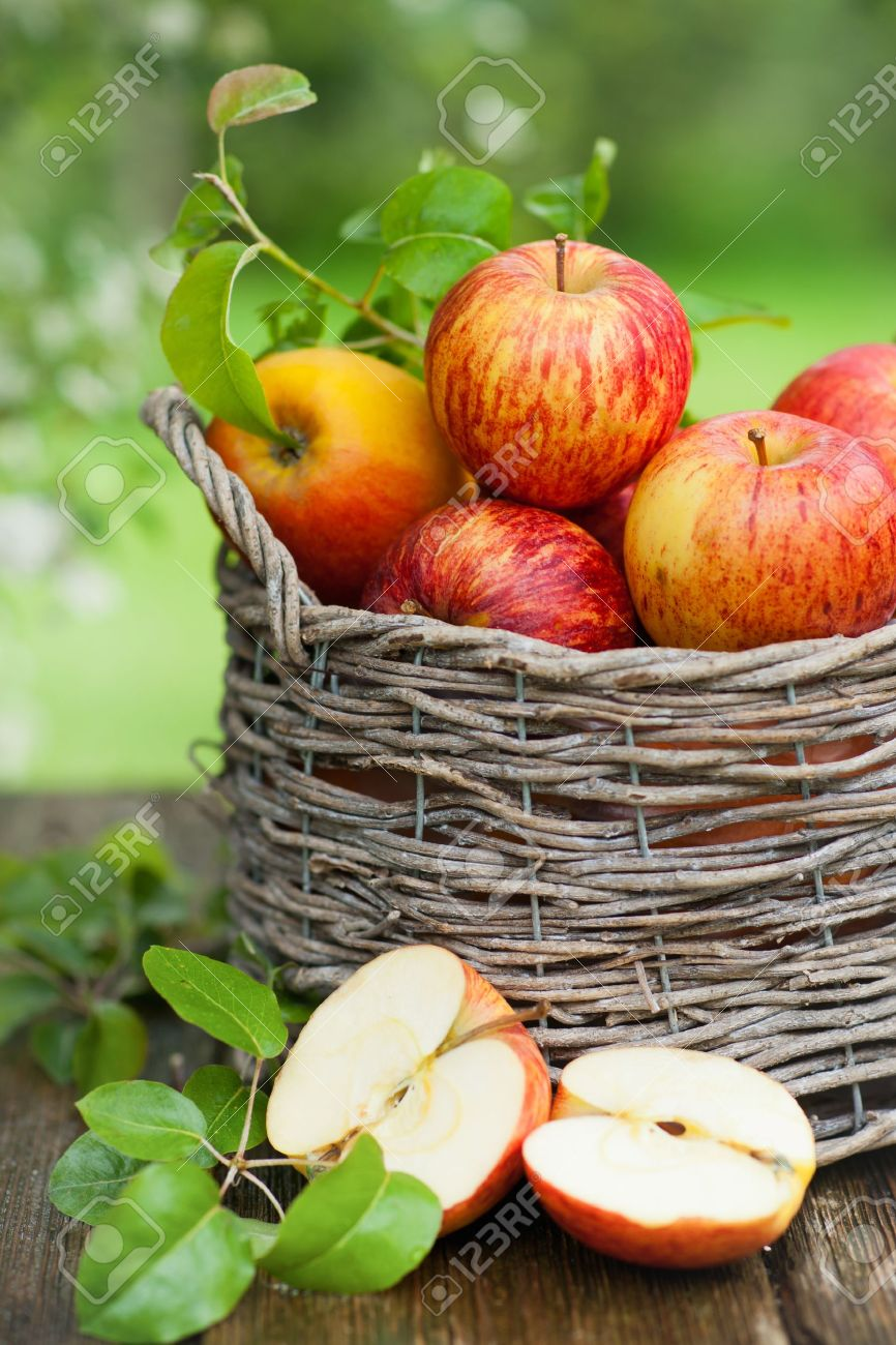 Fresh apples in a basket Stock Photo - 13765064