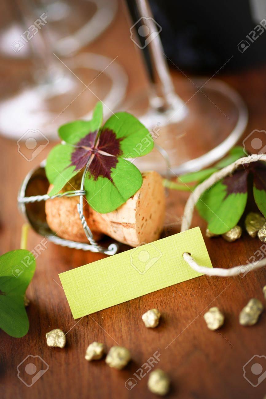 Lucky clover, description field Stock Photo - 14349807
