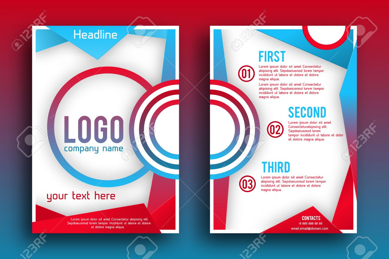 brochure design layout template size a4 front page and back