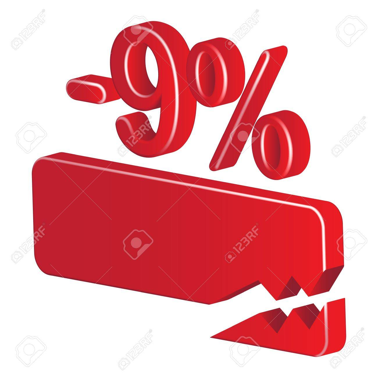 Minus nine per cent (red) on a white background Stock Vector - 20055471
