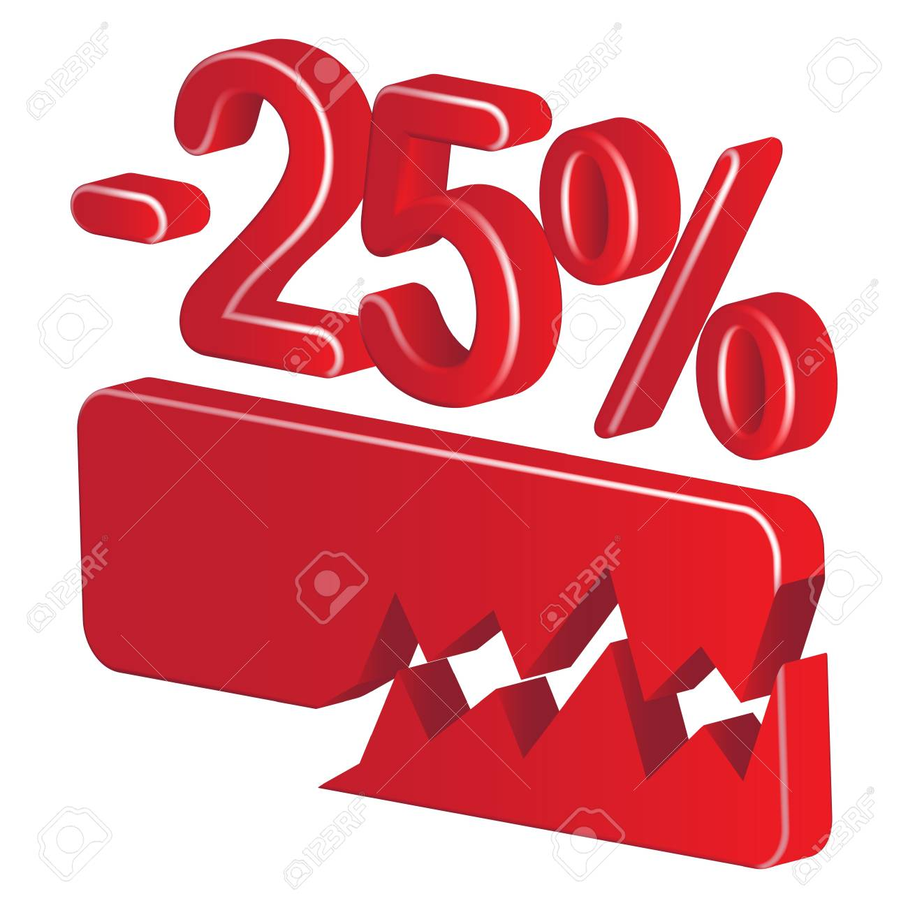 Minus twenty five per cent (red) on a white background Stock Vector - 20055478