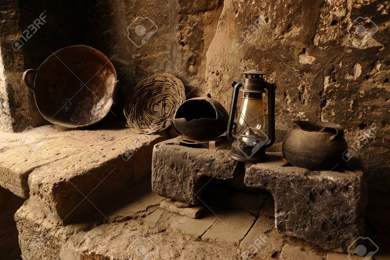 Old Kitchen Old Kitchen With Antique Lamp Pot Plate And Stove Stock Photo