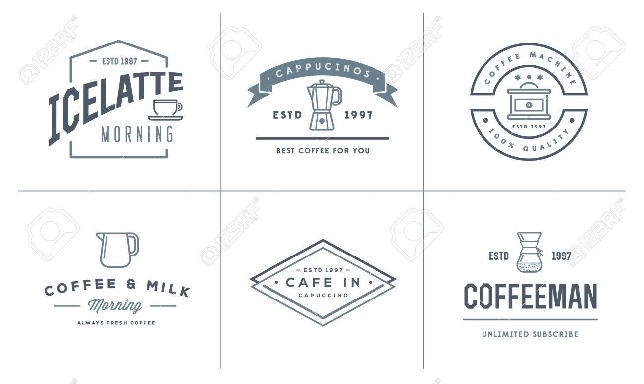 Satz Von Kaffee-Vorlagen Und Kaffeezubehör Illustration Mit ...