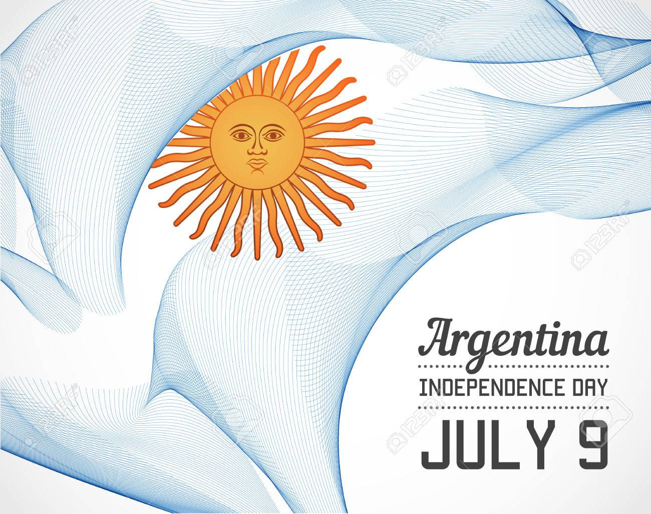 National Day of Argentina Country in Blending Lines Style with Date - 49311727
