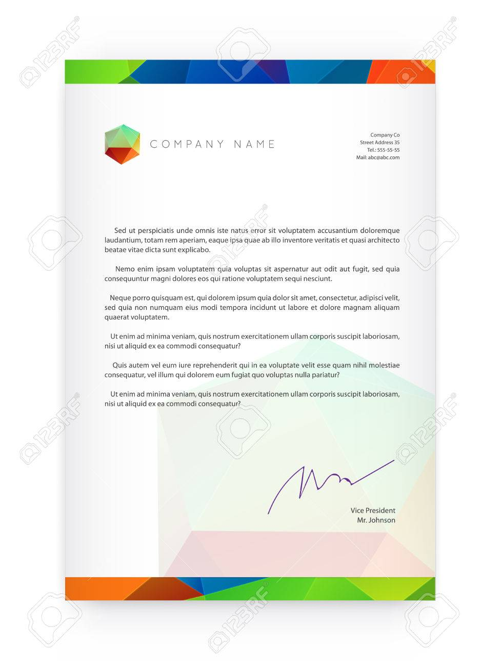 Visual identity with letter elements polygonal style Letterhead and geometric triangular design style brochure cover template mock ups for business with Fictitious name - 49311668