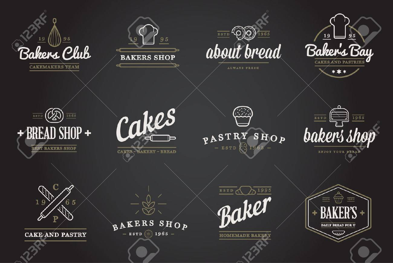 Set of Bakery Pastry Elements and Bread Icons Illustration - 50253460