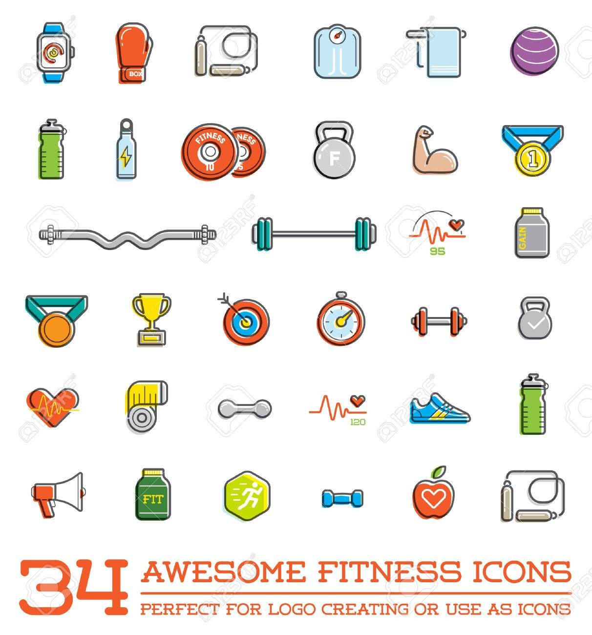 Set of Fitness Aerobics Gym Elements and Fitness Icons Illustration - 50252723