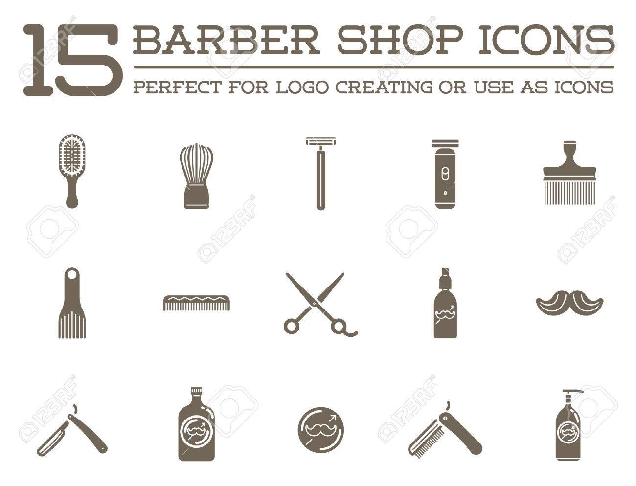 Set of Barber Shop Elements and Shave Shop Icons Illustration - 50251716