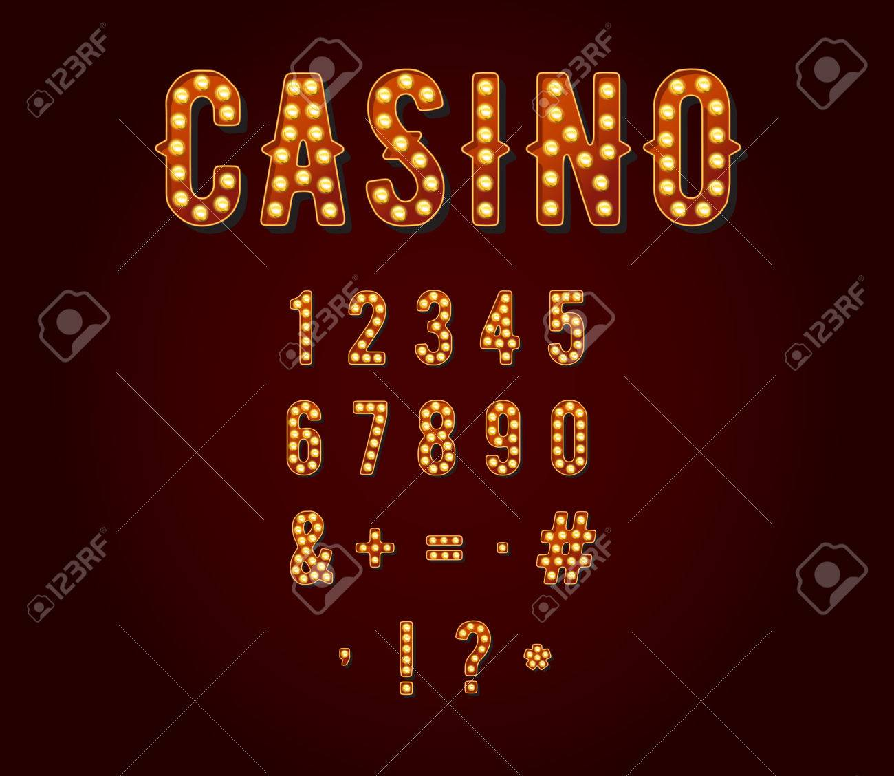 Casino or Broadway Signs style light bulb Digits or Numbers - 50187993