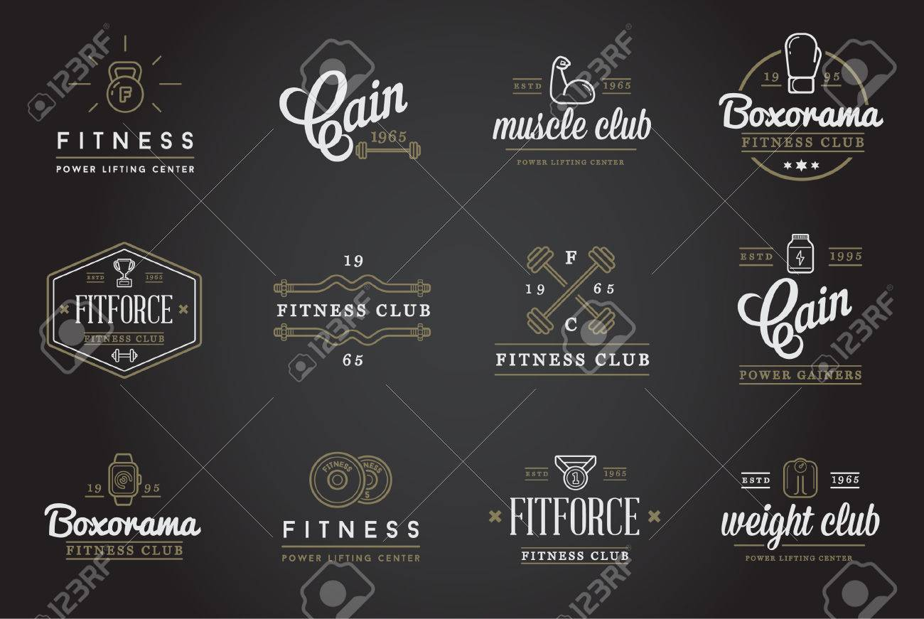 Set of Fitness Aerobics Gym Elements and Fitness Icons Illustration - 50187788