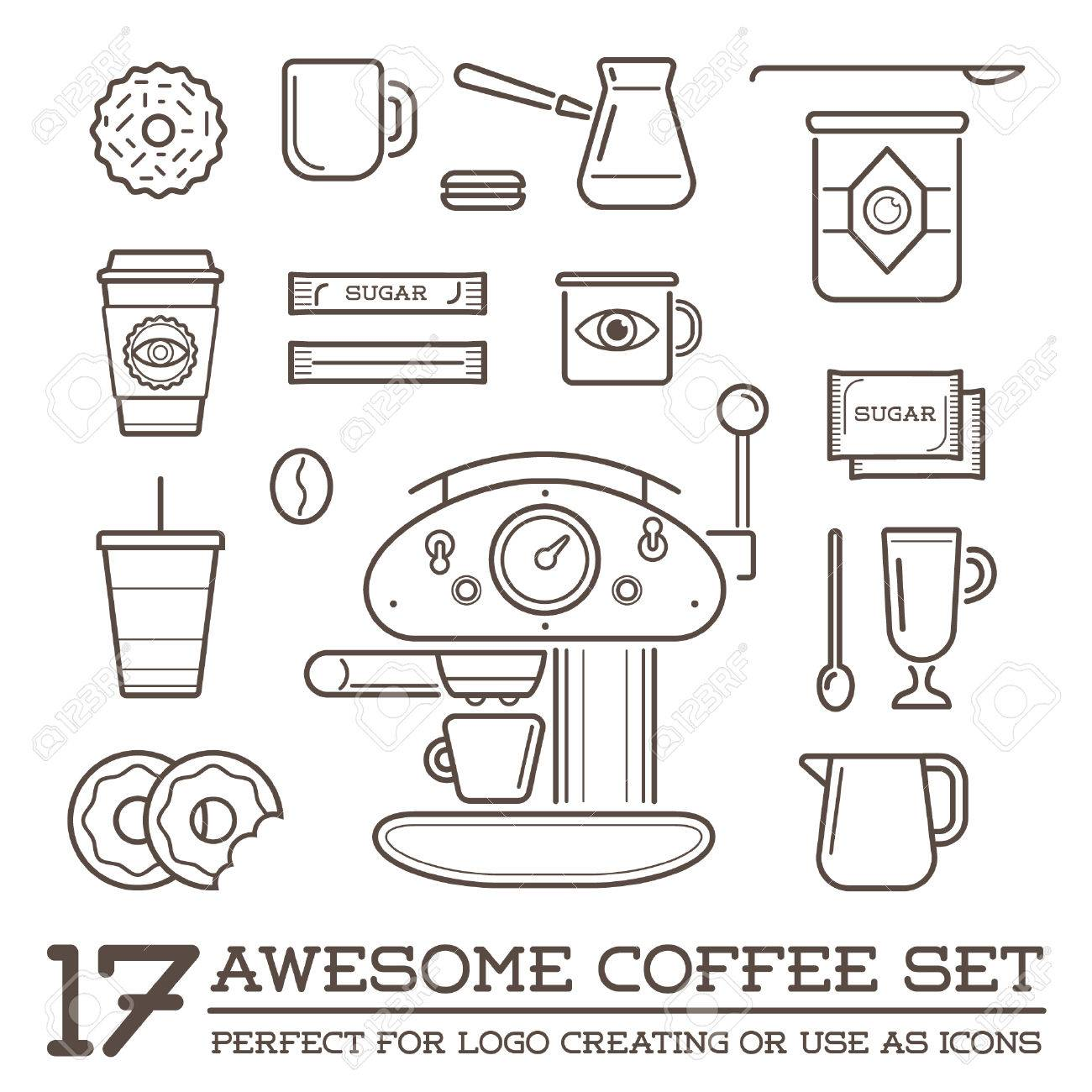Set of Coffee Elements and Coffee Accessories Illustration - 50187571