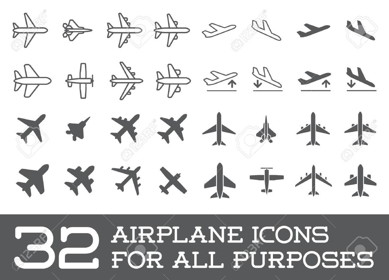 Aircraft or Airplane Icons Set Collection - 50187327