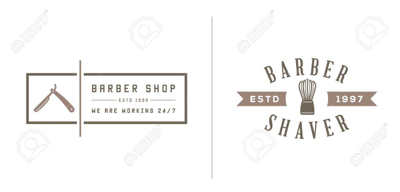 set of barber shop elements and shave shop icons illustration stock vector  - 50187062