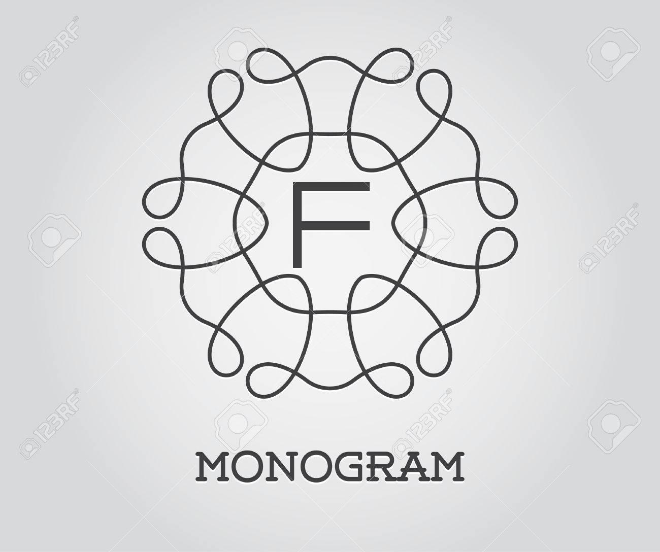 monogram design template with letter f illustration premium elegant quality stock vector 50185631