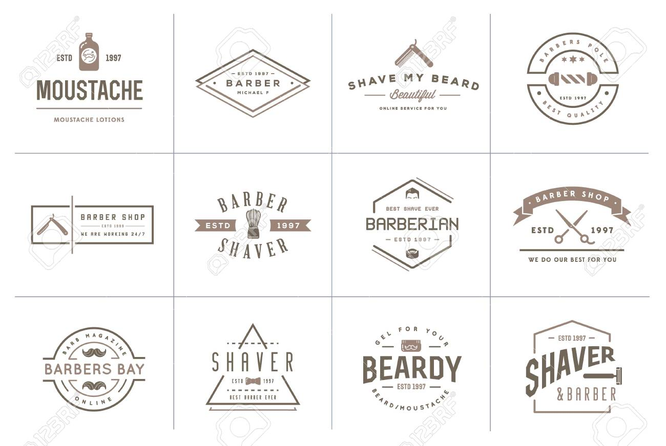 set of barber shop elements and shave shop icons illustration stock vector  - 50182123