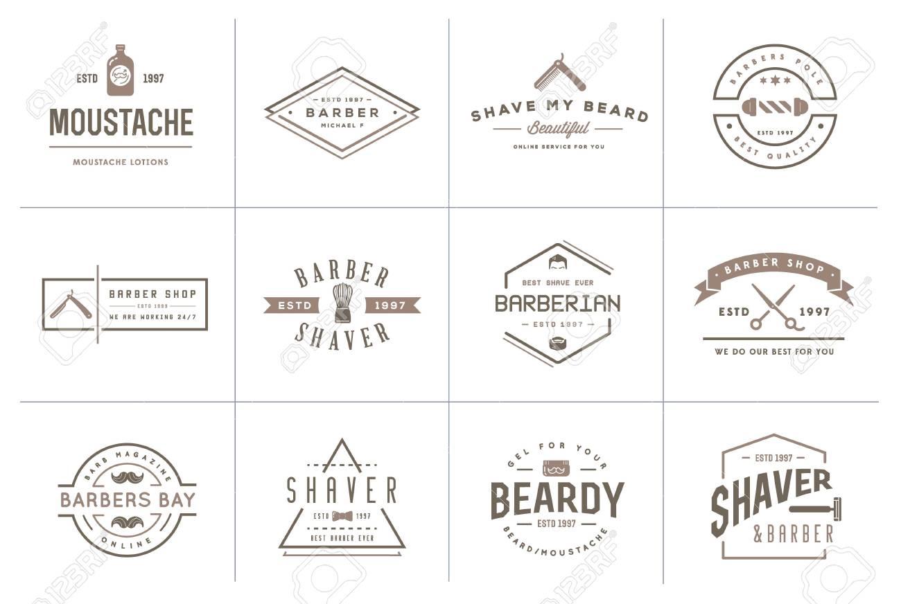 Set of Barber Shop Elements and Shave Shop Icons Illustration - 50182123