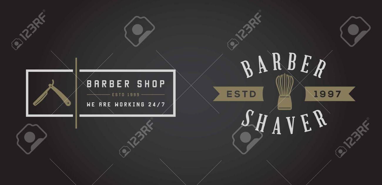 Set of Barber Shop Elements and Shave Shop Icons Illustration - 50180246
