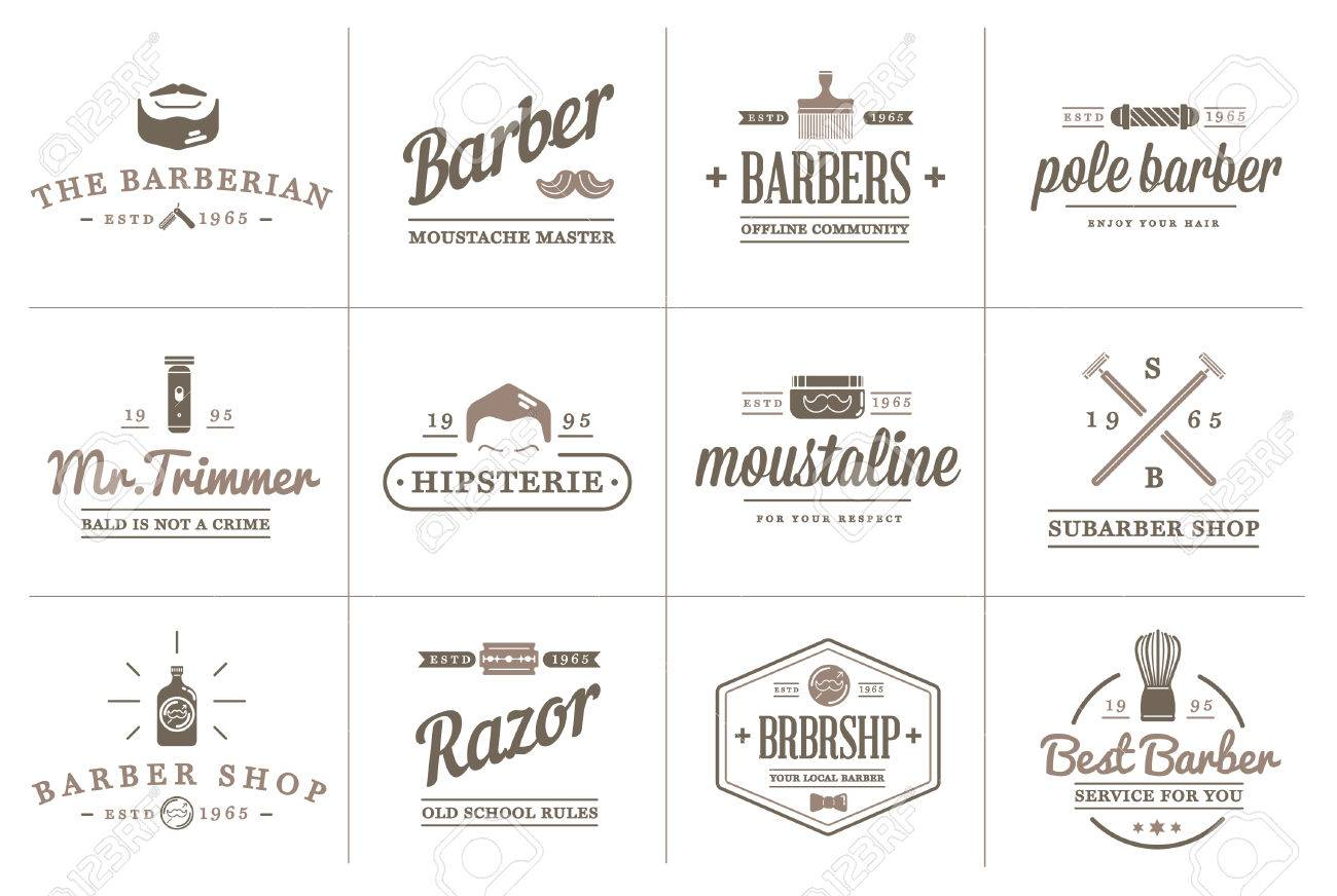 Set of Barber Shop Elements and Shave Shop Icons Illustration can be used as Logo or Icon in premium quality - 50194769