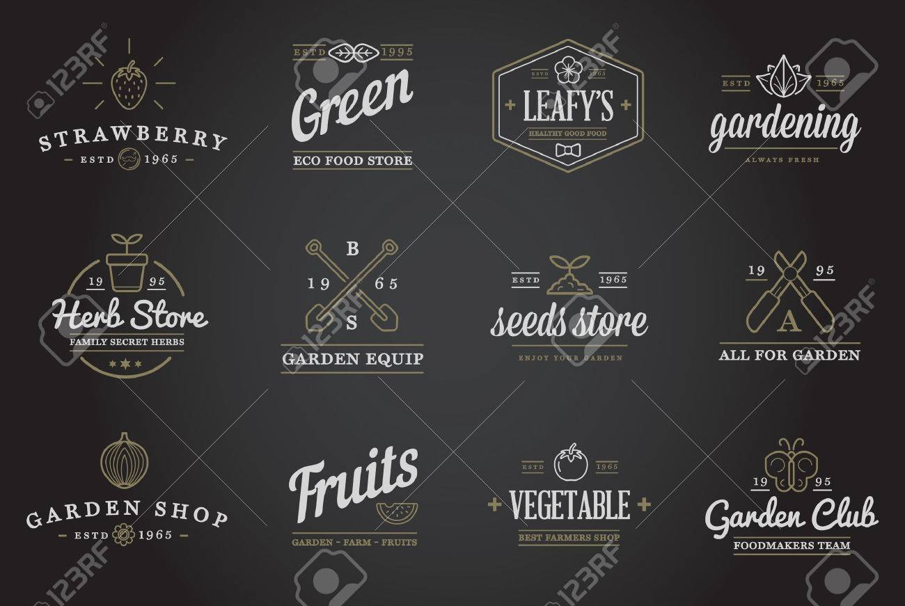 Set of Vector Garden and Farm Elements and Fruits or Vegetables Icons Illustration can be used as Logo or Icon in premium quality - 51703491