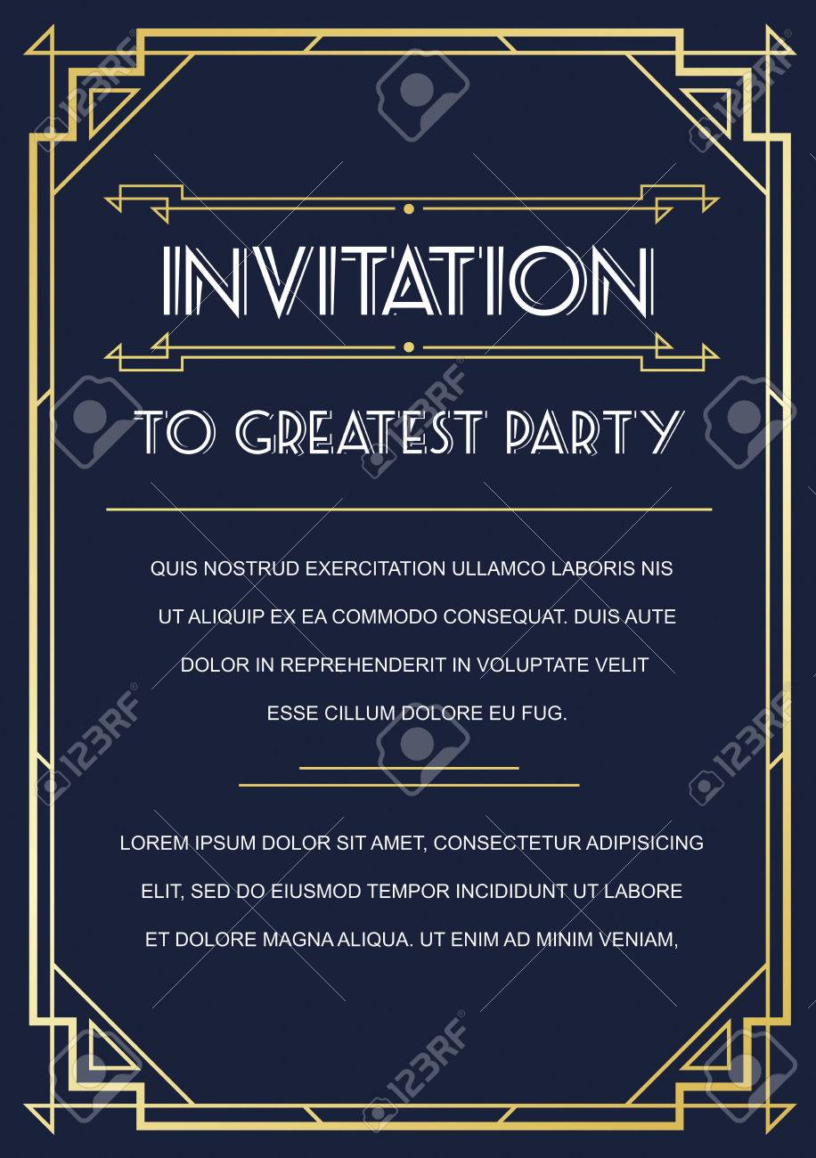 Gatsby Style Invitation in Art Deco or Nouveau Epoch 1920's Gangster Era Vector - 51703508