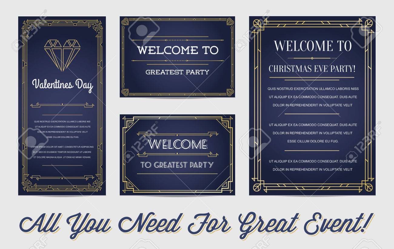 Great Style Invitation in Art Deco or Nouveau Epoch 1920's Gangster Empire or Boardwalk Era Vector Set for Main Event - 51703694
